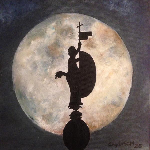 El-giraldillo,-interpretación-de-una-fotografía,-acrílico-sobre-lienzo,-interior